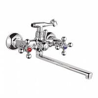 Смеситель LEDEME для ванны длинный излив крест L-30 керамика L2319