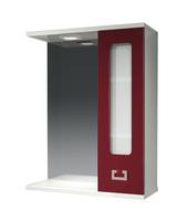 Шкаф зеркальный  550мм с подсветкой Витраж-Цвет 55 бордо, прав