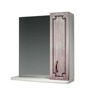 Шкаф зеркальный  650мм без подсветки Патина 65 серый антик, прав