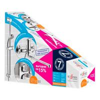 Комплект смесителей ROSSINKA Silvermix 3 в 1 (для ванны+для умывальника+душ.гарнитур) хром SET35-81