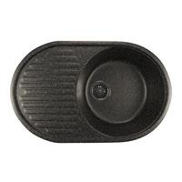 Мойка MIXLINE ML-GM16 овальная с крылом, черная (308), 455*720*180мм